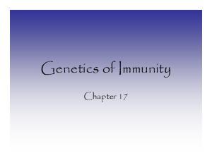 Genetics of Immunity. Chapter 17