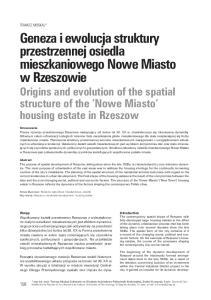 Geneza i ewolucja struktury przestrzennej osiedla mieszkaniowego Nowe Miasto w Rzeszowie