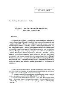 GENEZA I PROGRAM STUDIUM HISTORII
