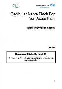 Genicular Nerve Block For Non Acute Pain