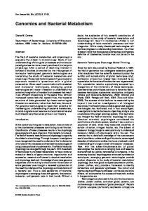 Genomics and Bacterial Metabolism