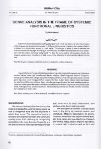 GENRE ANALYSIS IN THE FRAME OF SYSTEMIC FUNCTIONAL LINGUISTICS