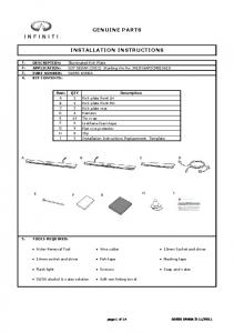 GENUINE PARTS INSTALLATION INSTRUCTIONS