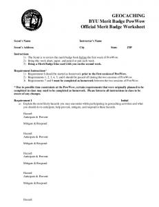 GEOCACHING BYU Merit Badge PowWow Official Merit Badge Worksheet