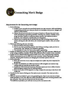 Geocaching Merit Badge Requirements for the Geocaching merit badge: