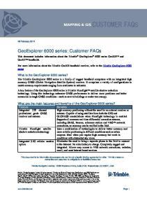 GeoExplorer 6000 series: Customer FAQs