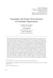 Geographic and Product Diversification in Charitable Organizations