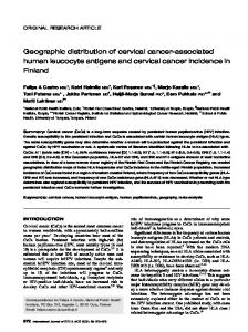 Geographic distribution of cervical cancer-associated human leucocyte antigens and cervical cancer incidence in Finland