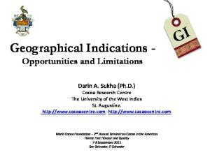 Geographical Indications - Opportunities and Limitations