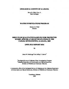 GEOLOGICAL SURVEY OF ALABAMA WATER INVESTIGATIONS PROGRAM