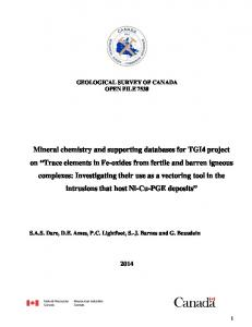 GEOLOGICAL SURVEY OF CANADA OPEN FILE