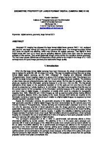 GEOMETRIC PROPERTY OF LARGE FORMAT DIGITAL CAMERA DMC II Introduction