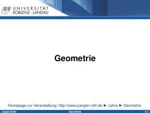 Geometrie. Homepage zur Veranstaltung:  Lehre Geometrie