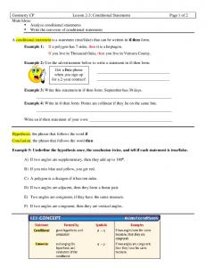 Geometry CP Lesson 2-3: Conditional Statements Page 1 of 2 Main Ideas: Analyze conditional statements Write the converse of conditional statements