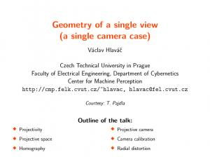 Geometry of a single view (a single camera case)