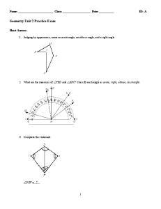 Geometry Unit 2 Practice Exam