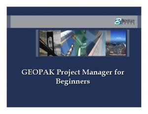 GEOPAK Project Manager for Beginners