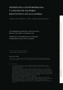 GEOPOLITICA CONTEMPORÁNEA Y ANÁLISIS DE FACTORES RELEVANTES A ESCALA GLOBAL*
