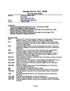 George Demiris, PhD, FACMI Curriculum Vitae