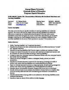 George Mason University Graduate School of Education Program: Special Education