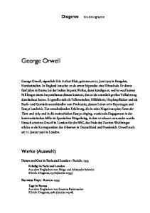 George Orwell. Werke (Auswahl) Diogenes. Bio-Bibliographie