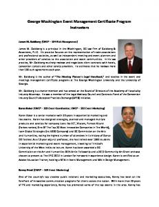 George Washington Event Management Certificate Program Instructors
