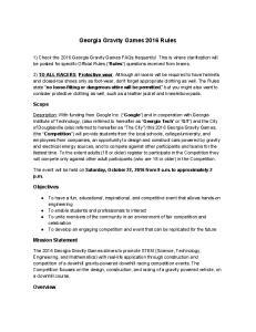 Georgia Gravity Games 2016 Rules