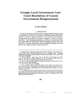 Georgia Local Government Law: Court Resolution of County Government Disagreements