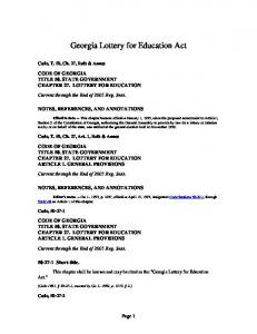 Georgia Lottery for Education Act
