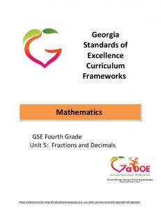 Georgia Standards of Excellence Curriculum Frameworks. Mathematics. GSE Fourth Grade Unit 5: Fractions and Decimals