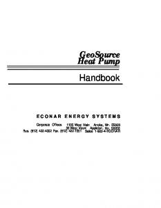GeoSource Heat Pump Handbook