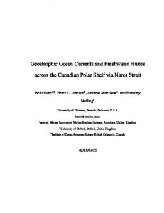 Geostrophic Ocean Currents and Freshwater Fluxes. across the Canadian Polar Shelf via Nares Strait