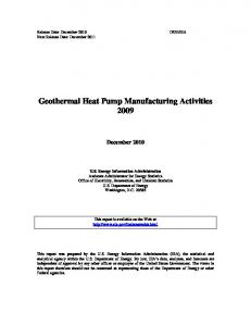 Geothermal Heat Pump Manufacturing Activities 2009