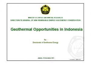 Geothermal Opportunities in Indonesia
