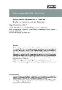 Gerencia ambiental en Colombia*