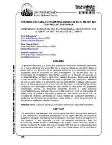 GERENCIA EDUCATIVA Y EDUCACION AMBIENTAL EN EL MARCO DEL DESARROLLO SOSTENIBLE