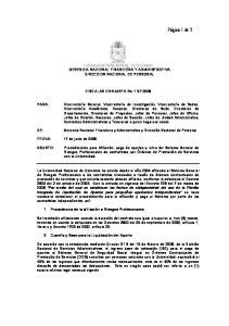 GERENCIA NACIONAL FINANCIERA Y ADMINISTRATIVA DIRECCION NACIONAL DE PERSONAL. CIRCULAR CONJUNTA No 1 DE 2008