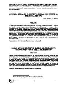 GERENCIA SOCIAL EN EL CONTEXTO GLOBAL Y SU APORTE AL DESARROLLO SOCIAL