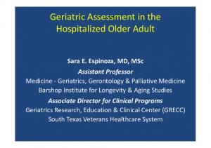 Geriatric Assessment in the Hospitalized Older Adult