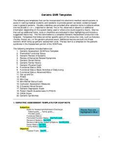 Geriatric EMR Templates