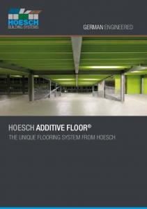 German engineered. hoesch additive floor. The unique flooring system from hoesch