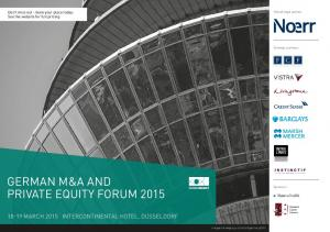 GERMAN M&A AND PRIVATE EQUITY FORUM 2015