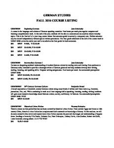 GERMAN STUDIES FALL 2016 COURSE LISTING