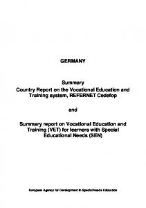 GERMANY. Summary Country Report on the Vocational Education and Training system, REFERNET Cedefop. and