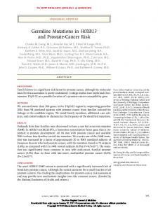 Germline Mutations in HOXB13 and Prostate-Cancer Risk