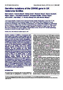 Germline mutations of the CDKN2 gene in UK melanoma families