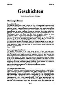 Geschichten. Monstergeschichten. Geschichten aus Berchem, Mittelgrad