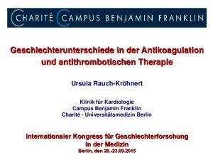 Geschlechterunterschiede in der Antikoagulation und antithrombotischen Therapie