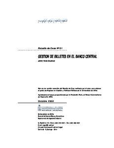 GESTION DE BILLETES EN EL BANCO CENTRAL