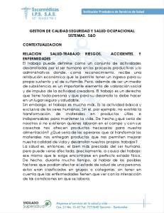 GESTION DE CALIDAD SEGURIDAD Y SALUD OCUPACIONAL SISTEMAS. S&O